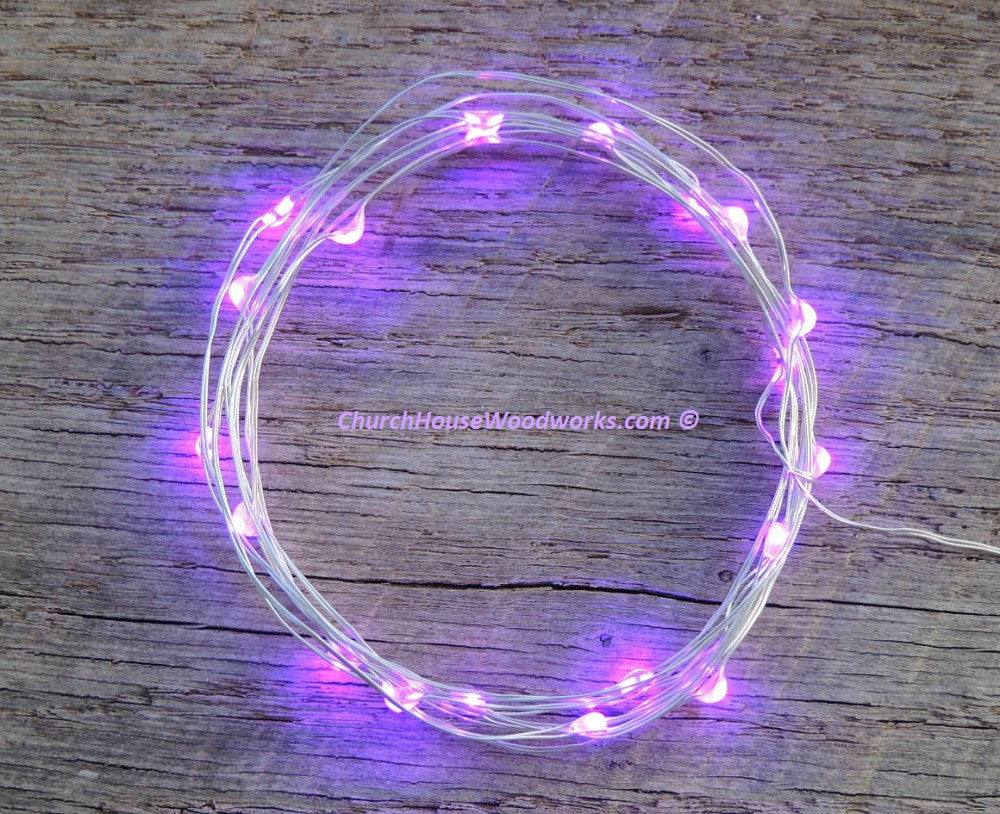 LED Fairy String Lights for rustic weddings wreaths mason jars purple light on silver wire
