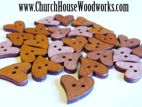 Heart Shape Wood Buttons pack of 10 - Use for sewing, crafts, scrap booking, embellishments, gifts Church House Woodworks