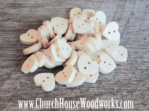 10 Heart Shaped Wood Buttons for crafts, sewing, DIY projects, scrap booking, embellishments and more.  Church House Woodworks