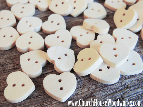 10 Heart Shaped Wood Buttons for crafts, sewing, DIY projects, scrap booking, embellishments and more.   Dimensions: 9/16 wide and 9/16 inch tall Holes: 2 Material: Wood  Colors: Light Natural Wood