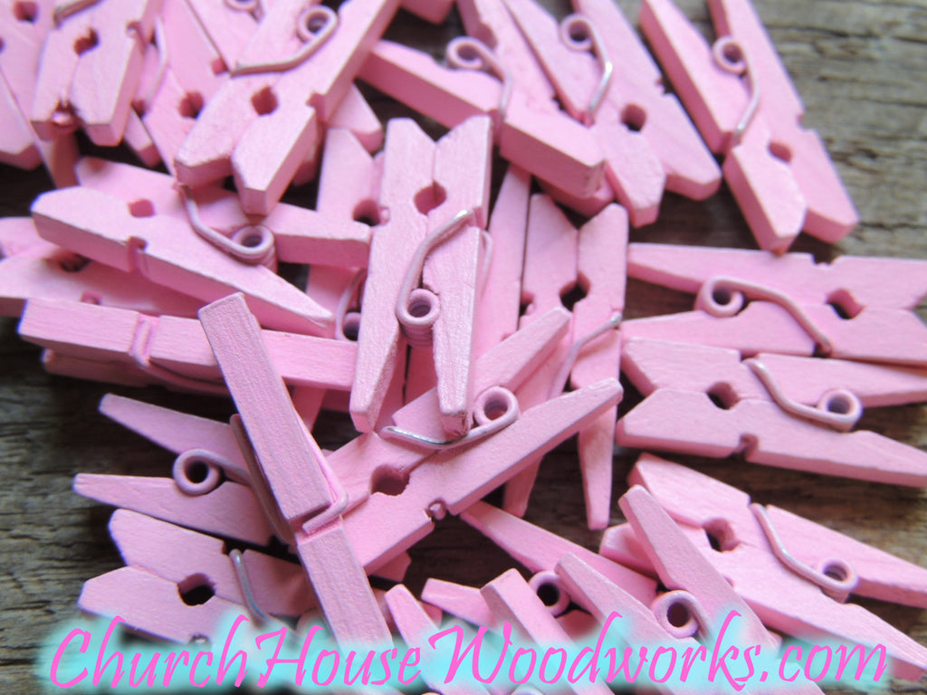 Mini Pink Clothespins Pack of 100 by ChurchHouseWoodworks.com