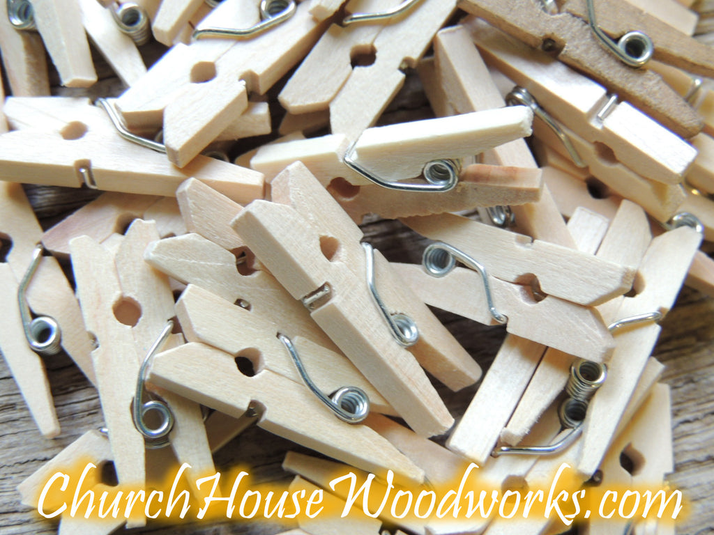 Mini Natural Wooden Clothespins Pack of 100 by ChurchHouseWoodworks.com
