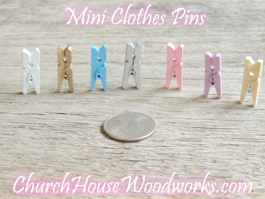 Fuchsia Mini wooden clothespins by ChurchHouseWoodworks.com - great for weddings, bridal showers, baby showers, birthday party events, diy crafts and projects