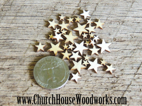 50 Tiny Mini Wood Stars, Wood Confetti Hearts- Rustic Wedding Decor- Table Decorations- Wooden Stars- Guest Book Decor- DIY Craft Supplies Church House Woodworks