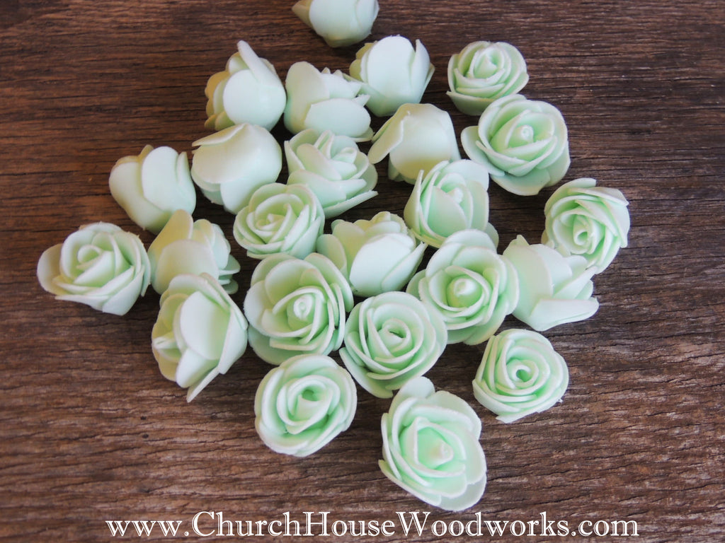Mint Green Pastel Foam Flower Roses Confetti Table Decorations Scatter Church House Woodworks DIY Do it yourself