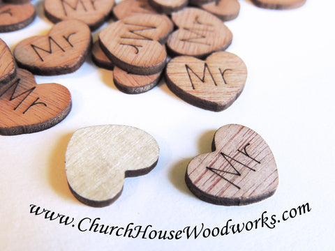 Mr Wood Hearts, Wood Confetti Engraved Love Hearts- Rustic Wedding Decor- Table Decorations- Tiny Wooden Hearts Church House Woodworks