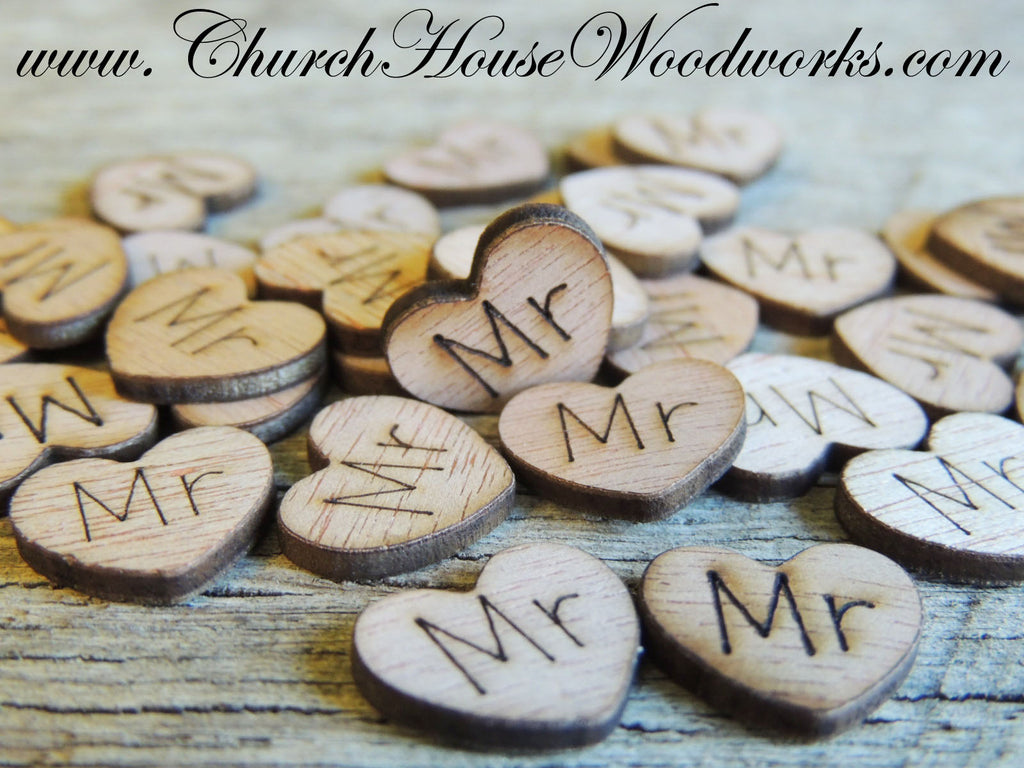 Mr Wood Heart Confetti for Rustic Weddings, Barn Weddings, Country Weddings, Farm Weddings, Shabby Chic Weddings by Church House Woodworks