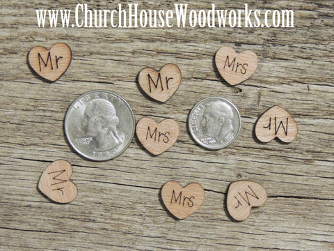 Mr Wood Engraved Burned Hearts for Rustic Weddings Country Weddings, Barn Weddings, By Church House Woodworks Confetti Table Scatter