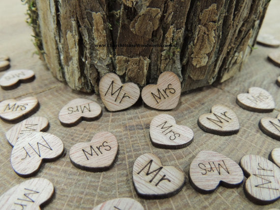 Mr Mrs Wood Hearts with words on them confetti table scatter wedding decorations MR MRS wedding decor