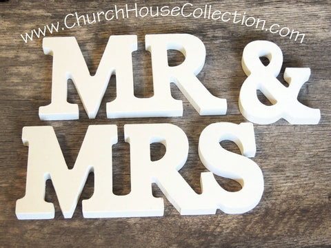 Mr and Mrs white letter signs by Church House Woodworks Wedding Table Decorations