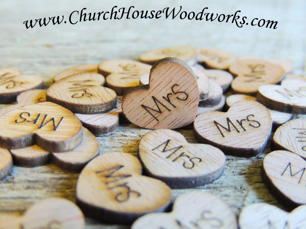 Mrs Wood Wedding Heart Confetti For Rustic Weddings, Barn Weddings, Country Weddings, Farm Weddings, Shabby Chic Weddings by Church House Woodworks