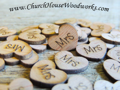 "100 Tiny Wooden Engraved ""Mrs"" Hearts.  These are really little. Perfect for scattering around a guest book or other wedding decor.   Dimensions are approx 1/2 x 1/2 x 1/16 inch thick  These would make a great addition to any rustic barn wedding or bridal shower."