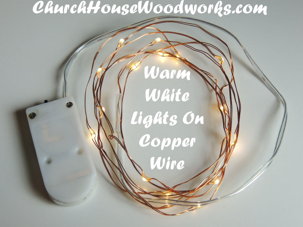 Warm White Fairy Lights on Copper Wire by ChurchHouseWoodworks.com