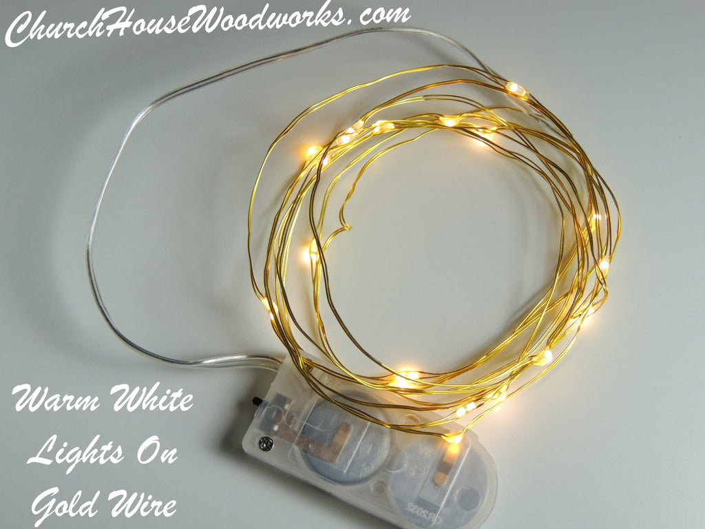 Warm White Lights On Gold Wire LED Battery Fairy Lights - Bedroom ...