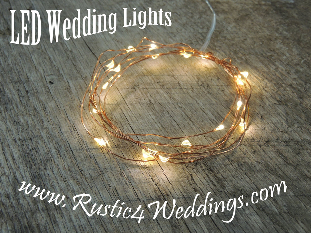 LED Fairy String Lights for rustic weddings wreaths mason jars warm white on copper wire