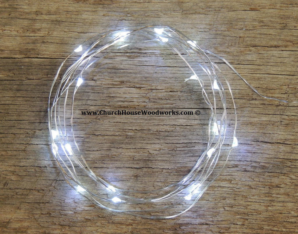 LED Fairy String Lights for rustic weddings wreaths mason jars cool white on silver wire