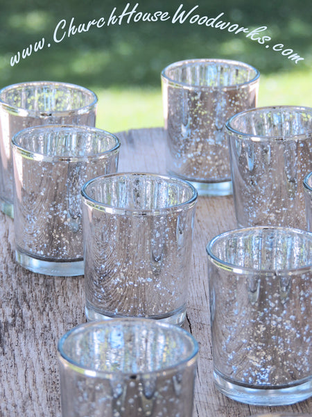 Silver Mercury Glass Votive Holders Elegant Wedding Decor and Lighting