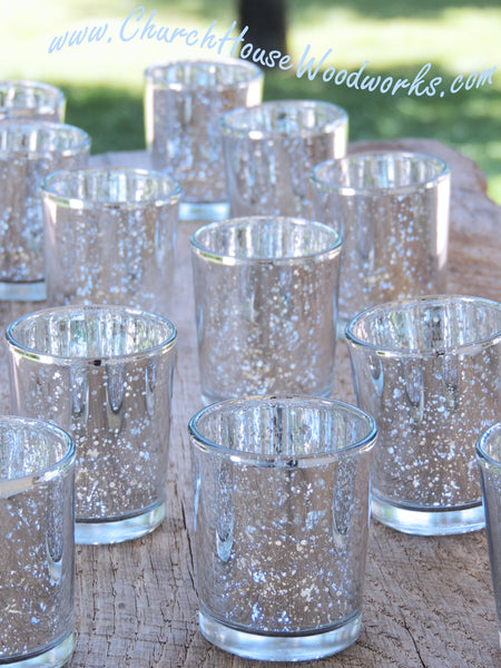 Silver Mercury Glass Votive Holders Tea Light Candle Holders
