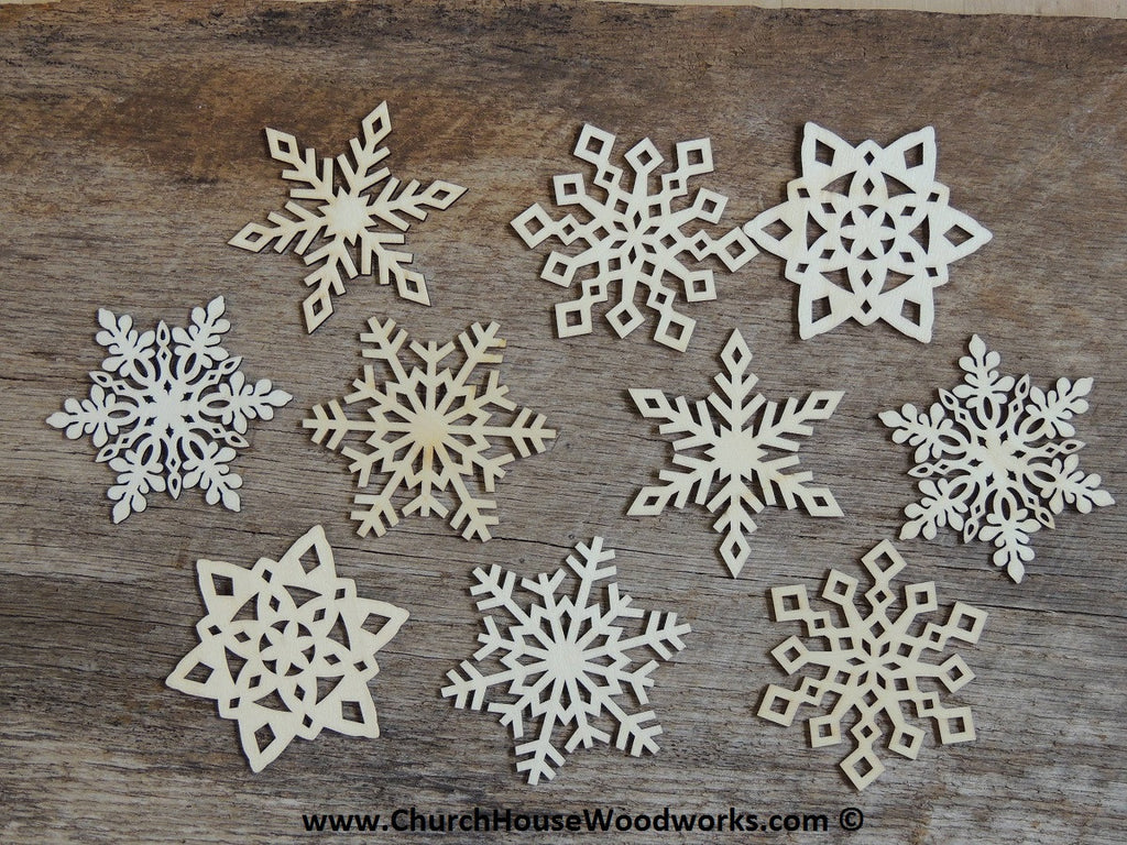 inch Snowflake Wood Christmas Ornaments- 10 pack Style MIX
