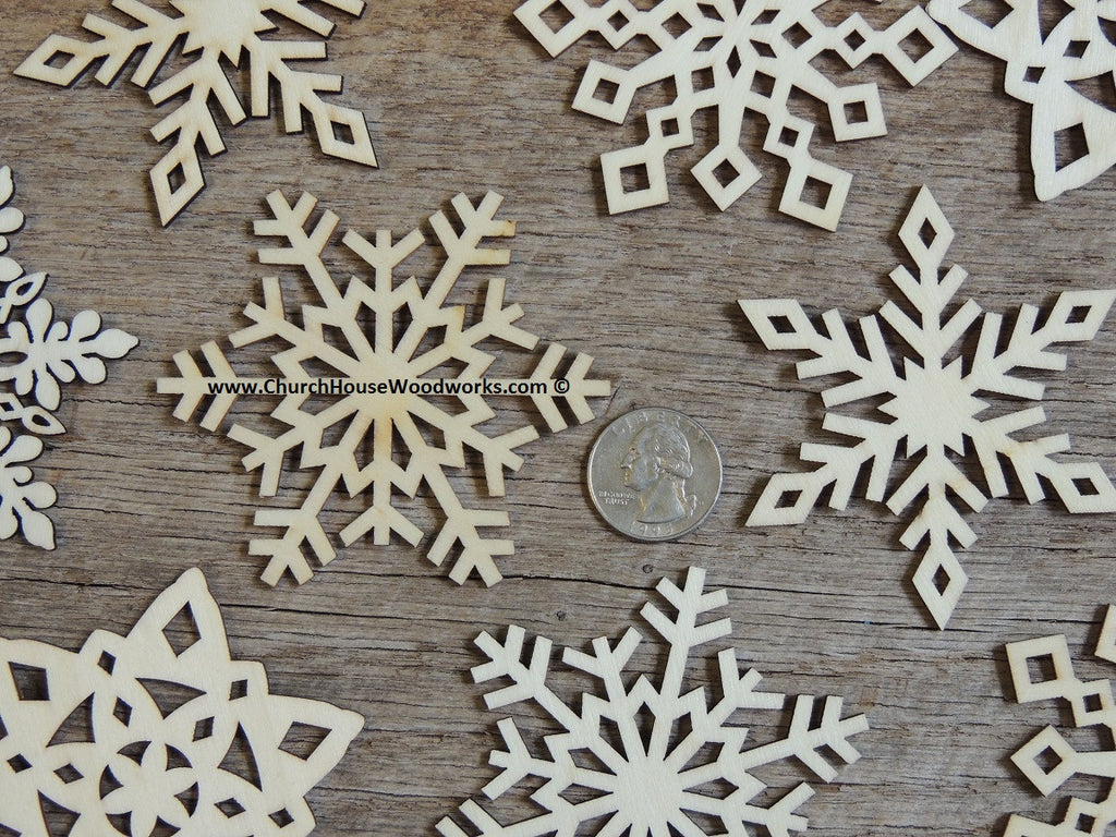 3 Inch Snowflake Wood Christmas Ornaments 10 Pack Style
