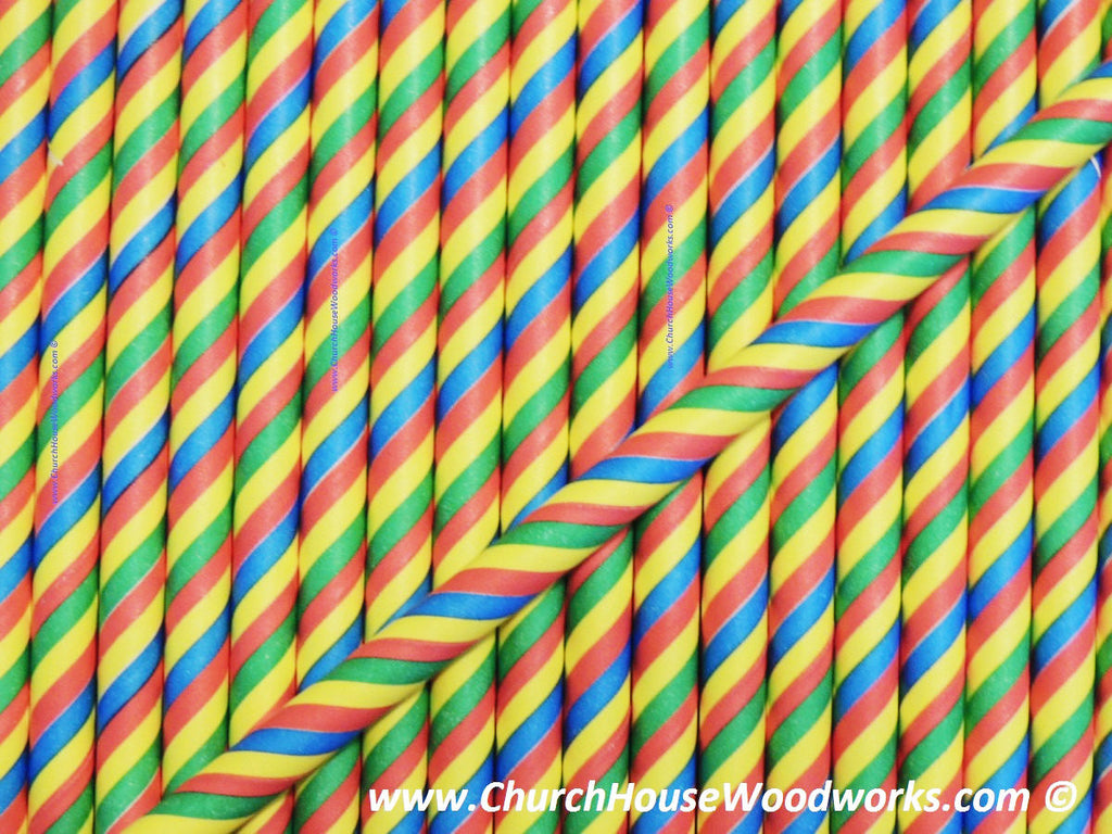 striped rainbow paper straws multi-color unicorn horn birthday party