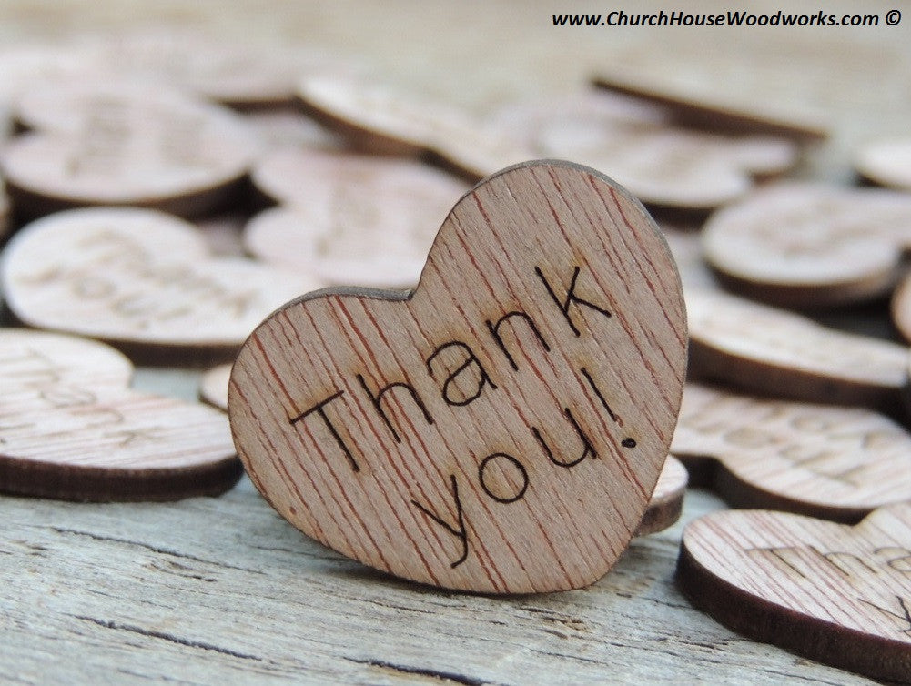 Thank you 1 inch rustic wood wooden hearts for weddings confetti decorations decor