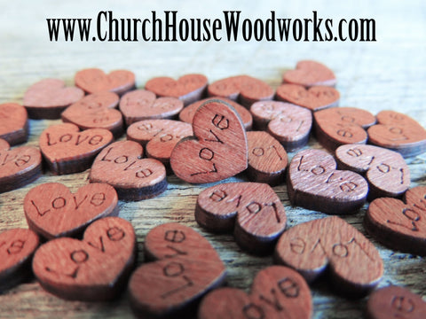 100 MINI Love Wood Hearts, Wood Confetti Engraved Love Hearts- Rustic Wedding Decor- Table Decorations- Tiny Wooden Hearts Church House Woodworks