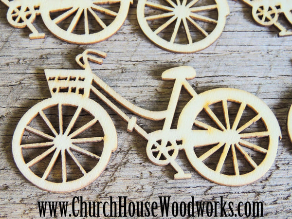 Wooden Bicycle pack of 5 Die Cut Confetti Wood Table Scatter Decorations- Use for sewing, crafts, scrap booking, embellishments, gifts