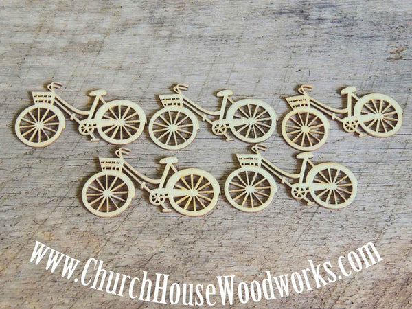 Wooden Bicycle pack of 5 Die Cut Table Confetti Scatter Decorations- Use for sewing, crafts, scrap booking, embellishments, gifts
