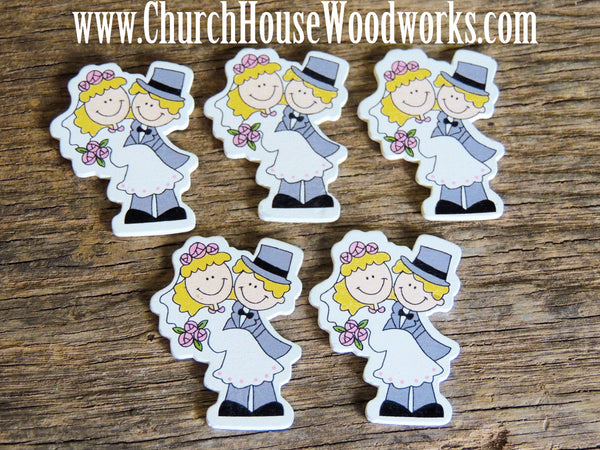 These DO NOT have holes.  5 Wood Embellishments of a Groom holding his Bride for crafts, sewing, DIY projects, scrap booking, embellishments and more.