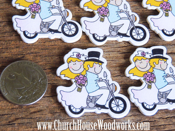 Bride Groom On Motorcycle Wood Wooden Confetti Crafts DIY table scatter decorations Church House Woodworks