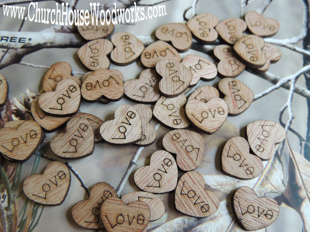 Wooden Love Hearts Table Confetti