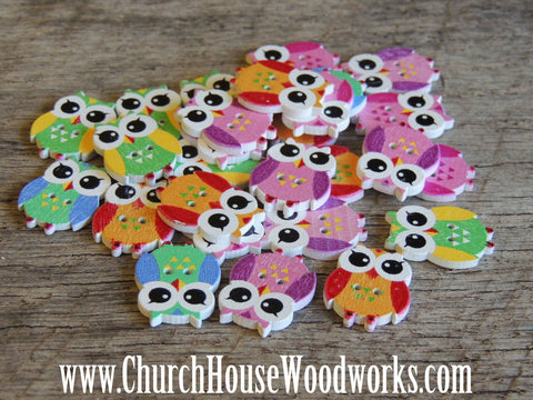 Smaller Owl Buttons For Sewing And Crafting DIY do it yourself Church House Woodworks animals