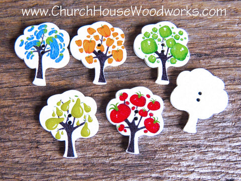 Fruit Tree Wood Buttons Garden Eggplant Pear Apple Pepper Tomato By Church House Woodworks