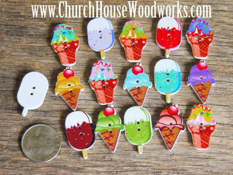 Ice Cream Popsicle Wood Buttons DIY Button church house woodworks sewing crafts