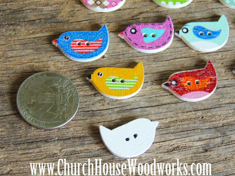 5 Little Bird Wood Buttons for crafts, sewing, DIY projects, scrap booking, embellishments and more.