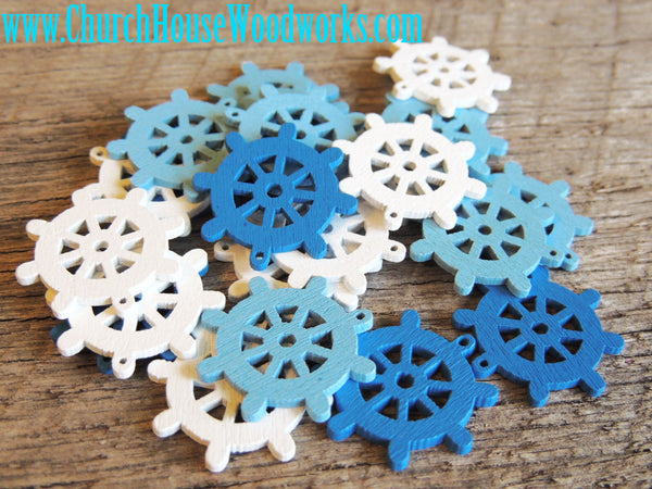 Ship Steering Wheel Wood Scatter Confetti Decorations Pendants Nautical Beach Blue White Church House Woodworks DIY Crafts Weddings