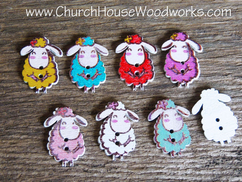 Sheep Wood Buttons DIY Crafts By Church House Woodworks