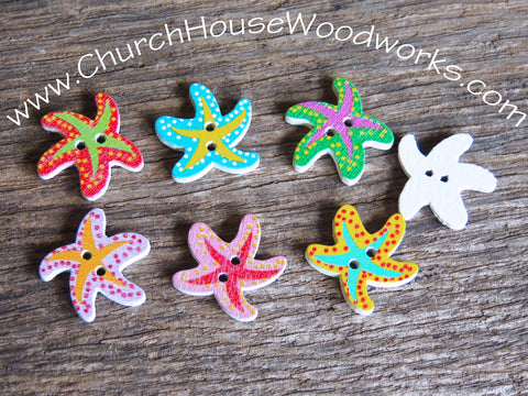 Wood Wooden Starfish Buttons DIY Crafts by Church House Woodworks