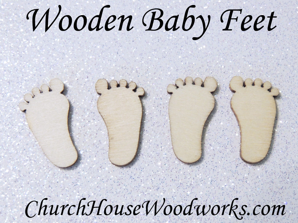 tiny wooden baby feet embellishments for baby shower decor