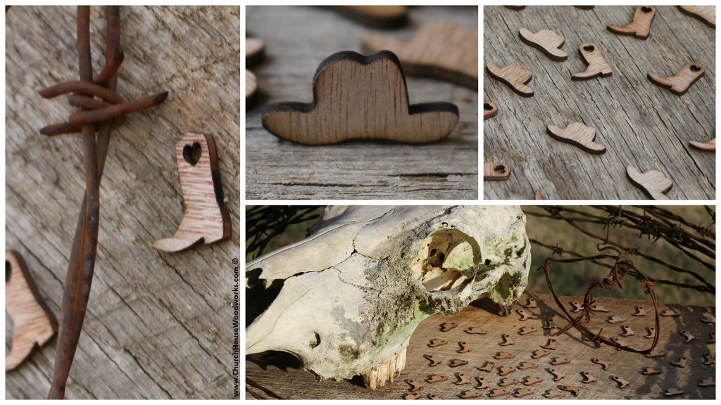 Wooden Cowboy Hat table scatter confetti embellishments cowboy wedding decor rustic weddings