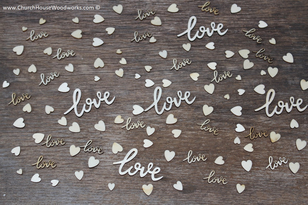 cursive love words and tiny heart mix table scatters for wedding decorations receptions showers 2