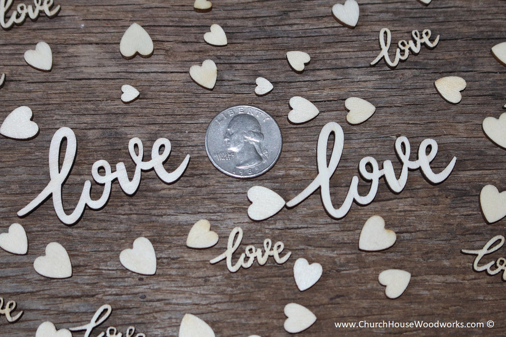 cursive love words and tiny heart mix table scatters for wedding decorations receptions showers