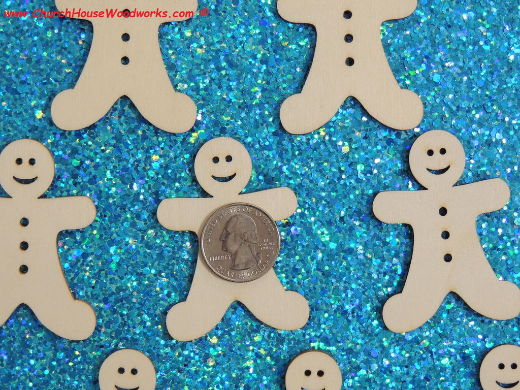 2 Inch wood gingerbread man men for crafts shapes woodcraft Christmas ornaments scrapbooks favors holiday
