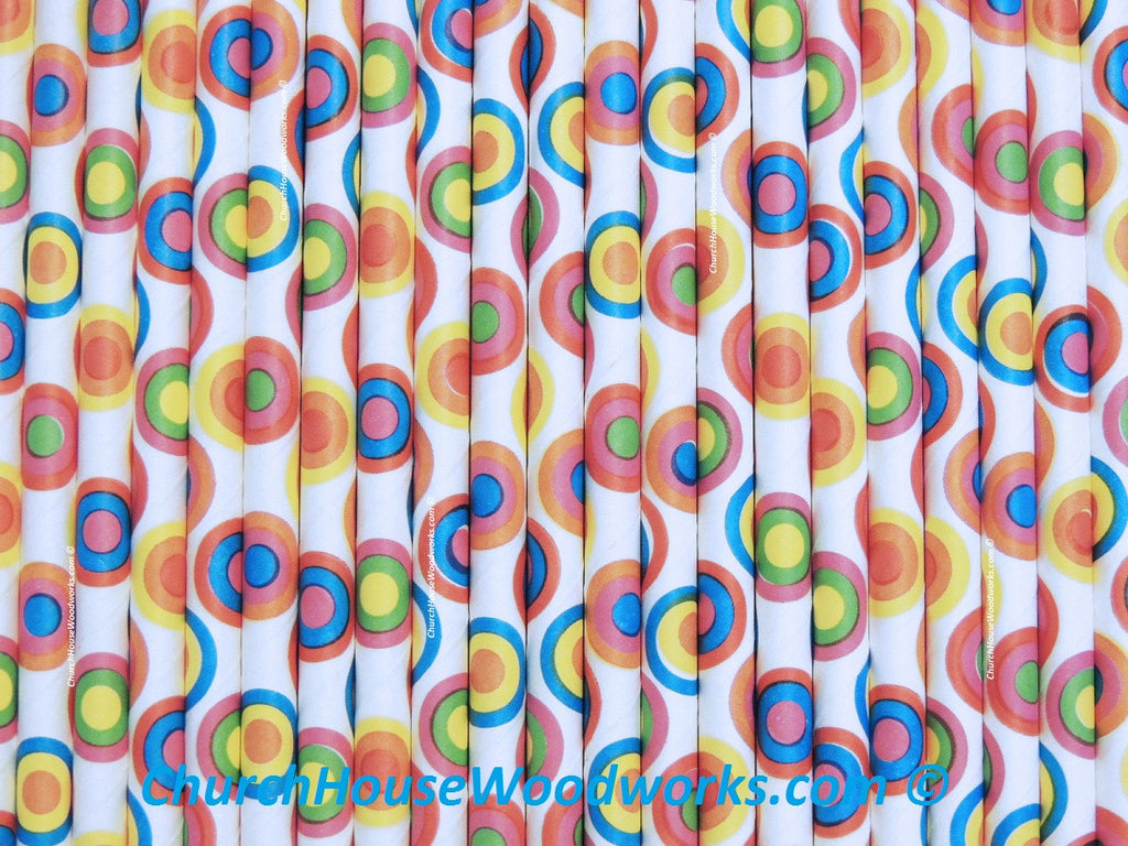rainbow kaleidoscope circles paper straw for weddings parties events showers decorations
