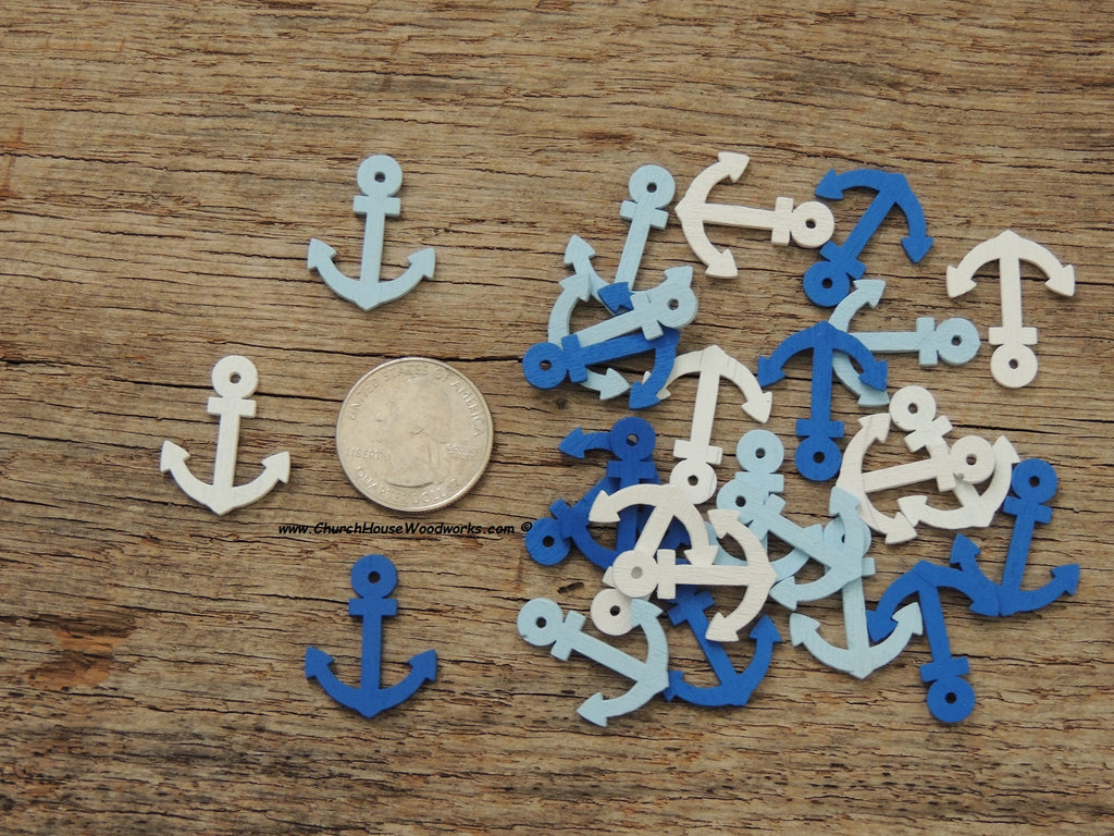 Ship Anchor Boat Wood Scatter Confetti Decorations Pendants Nautical Beach Blue White Church House Woodworks DIY Crafts Weddings