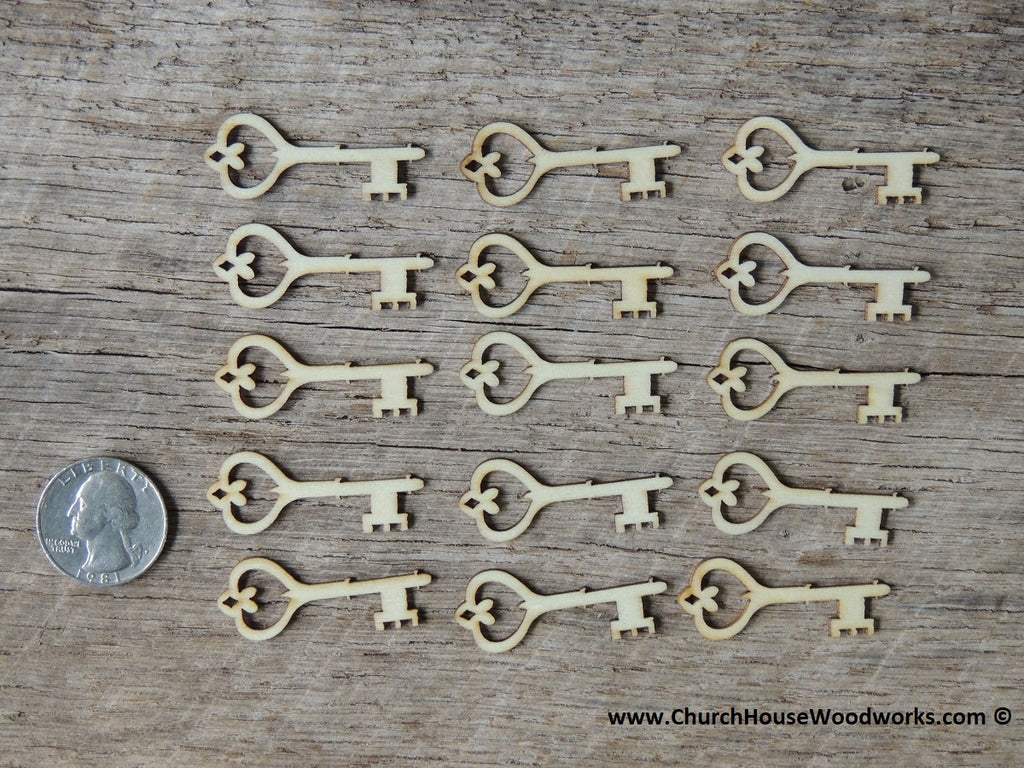 small wood skeleton key shape embellishment scrapbooking crafts wooden