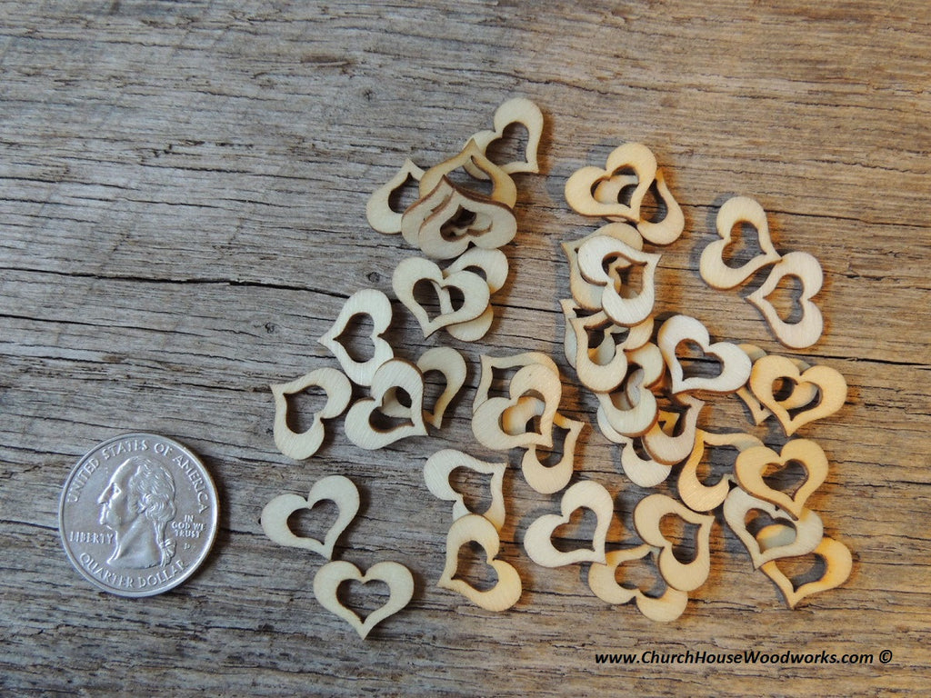 Tiny Little Wooden Hollow Heart Wood Confetti with hole
