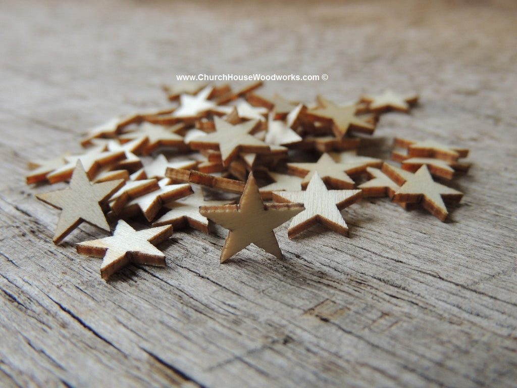 These are LITTLE BITTY wood stars. Look at the pictures to see size example.  50 Wood Stars per lot. 1/2 inch wide x 1/16 inch thick. The stars are 1/2 inch across at their widest point. They are pretty small so please look at the photo with them next to a quarter for size reference.  These are great for little craft projects, especially flags and Christmas ornaments/crafts.  We carry wood stars in several sizes.