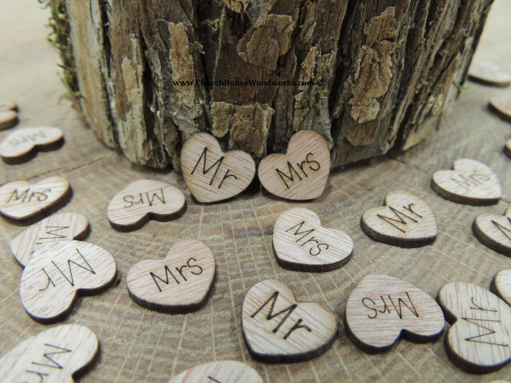Mr Mrs Wood Love Hearts Rustic Wedding confetti